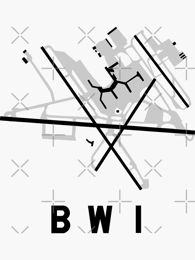 Baltimore Airport Diagram Sticker By Vidicious