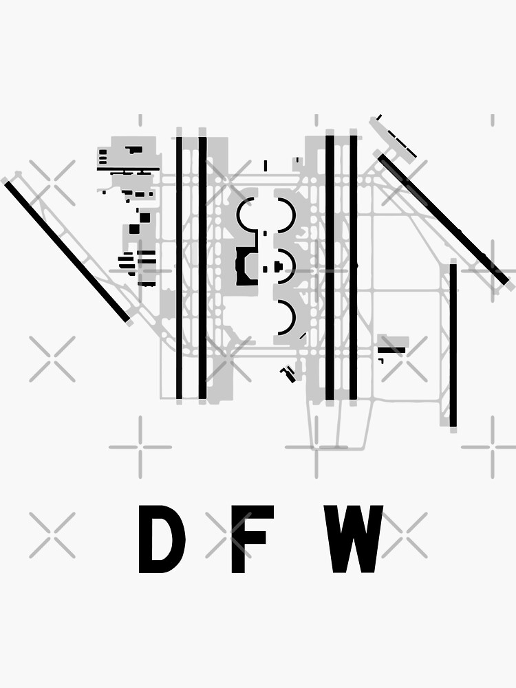 Dallasfort Worth Airport Diagram Sticker By Vidicious