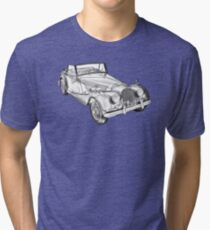 1964 Morgan Plus 4 Convertible Sports Car Illustration Tri-blend T-Shirt