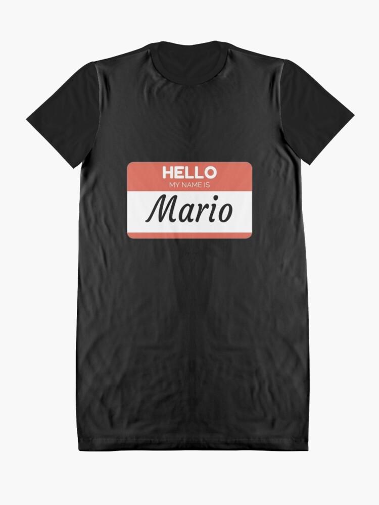 Vista alternativa de Vestido camiseta Mario Name Label  Hello My Name Is Mario Gift For Mario or for a female you know called Mario