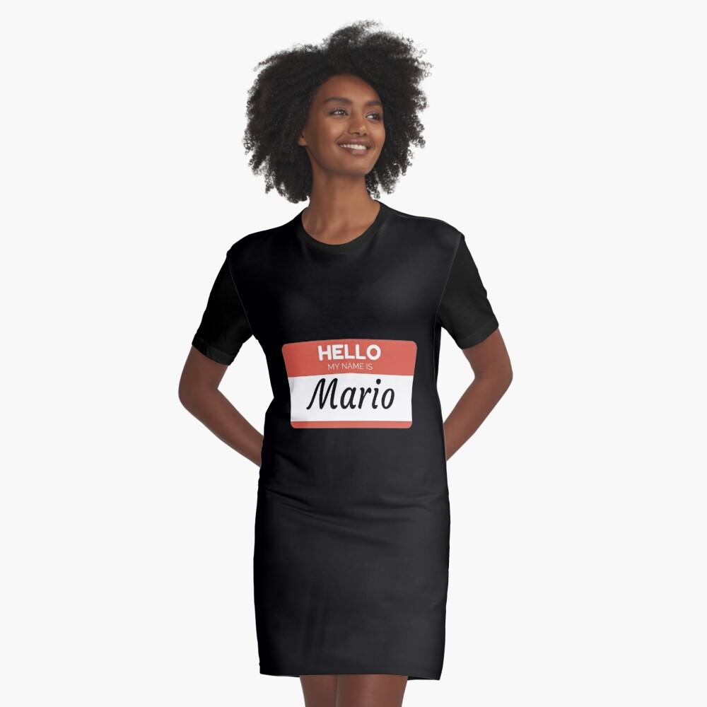 Mario Name Label  Hello My Name Is Mario Gift For Mario or for a female you know called Mario Vestido camiseta