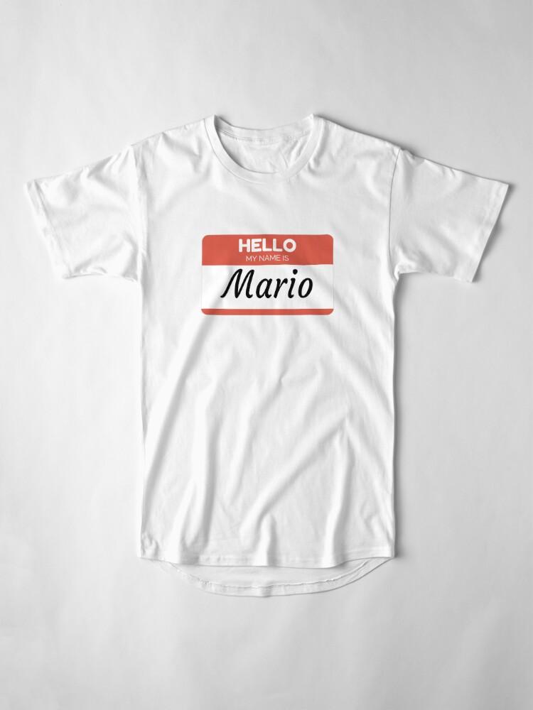 Vista alternativa de Camiseta larga Mario Name Label  Hello My Name Is Mario Gift For Mario or for a female you know called Mario