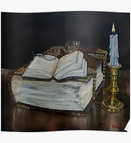 """Old Family Bible and Psalm Book"" - Oil Painting Poster"