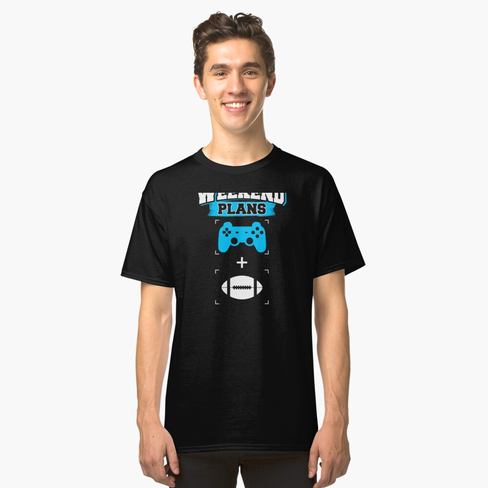 Funny Gaming Football Weekend Plans Gamer Football Player (2) Classic T-Shirt