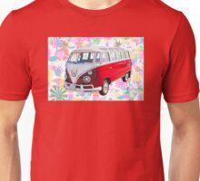 VW 21 window Mini Bus And Hippie Background Unisex T-Shirt