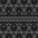 Floral Lace, Black on Gray  by Etakeh
