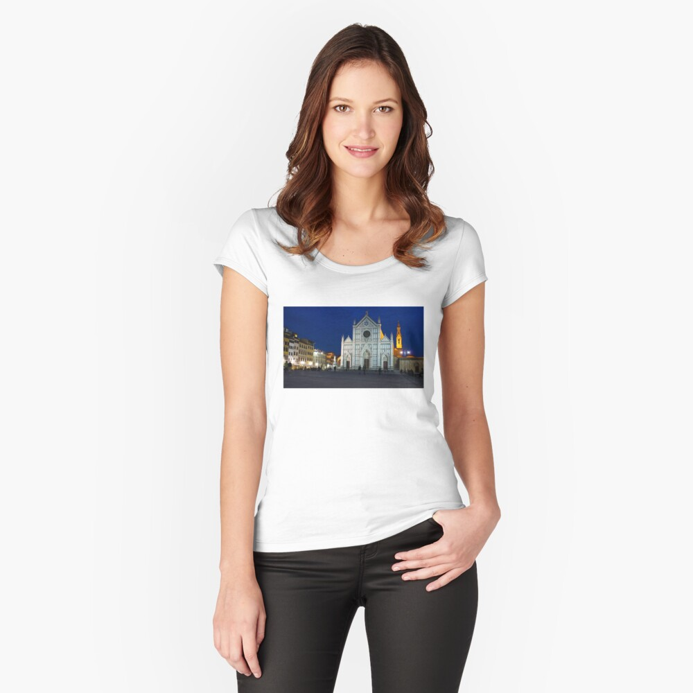Blue Hour - Santa Croce Church in Florence, Italy Women's Fitted Scoop T-Shirt Front