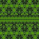 Floral Lace, Black on Green by Etakeh