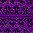 Floral Lace, Black on Purple by Etakeh