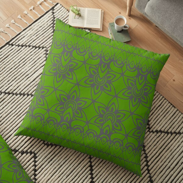 Floral Lace, Gray on Green Floor Pillow