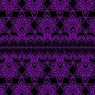Floral Lace, Purple on Black by Etakeh