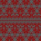 Floral Lace, Red on Gray by Etakeh
