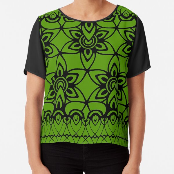 Floral Lace, Black on Green Chiffon Top