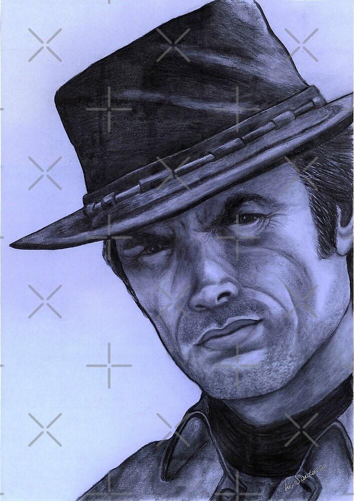 Clint Eastwood celebrity portrait 130 views by Margaret Sanderson