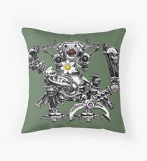 Cyberpunk Vintage Robot with Flower Steampunk T-Shirts Throw Pillow