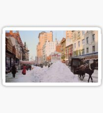 Piles of snow on Broadway, after storm, New York, ca 1905 Colorized Sticker