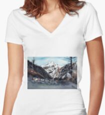 Manali 5 Himalaya Women's Fitted V-Neck T-Shirt