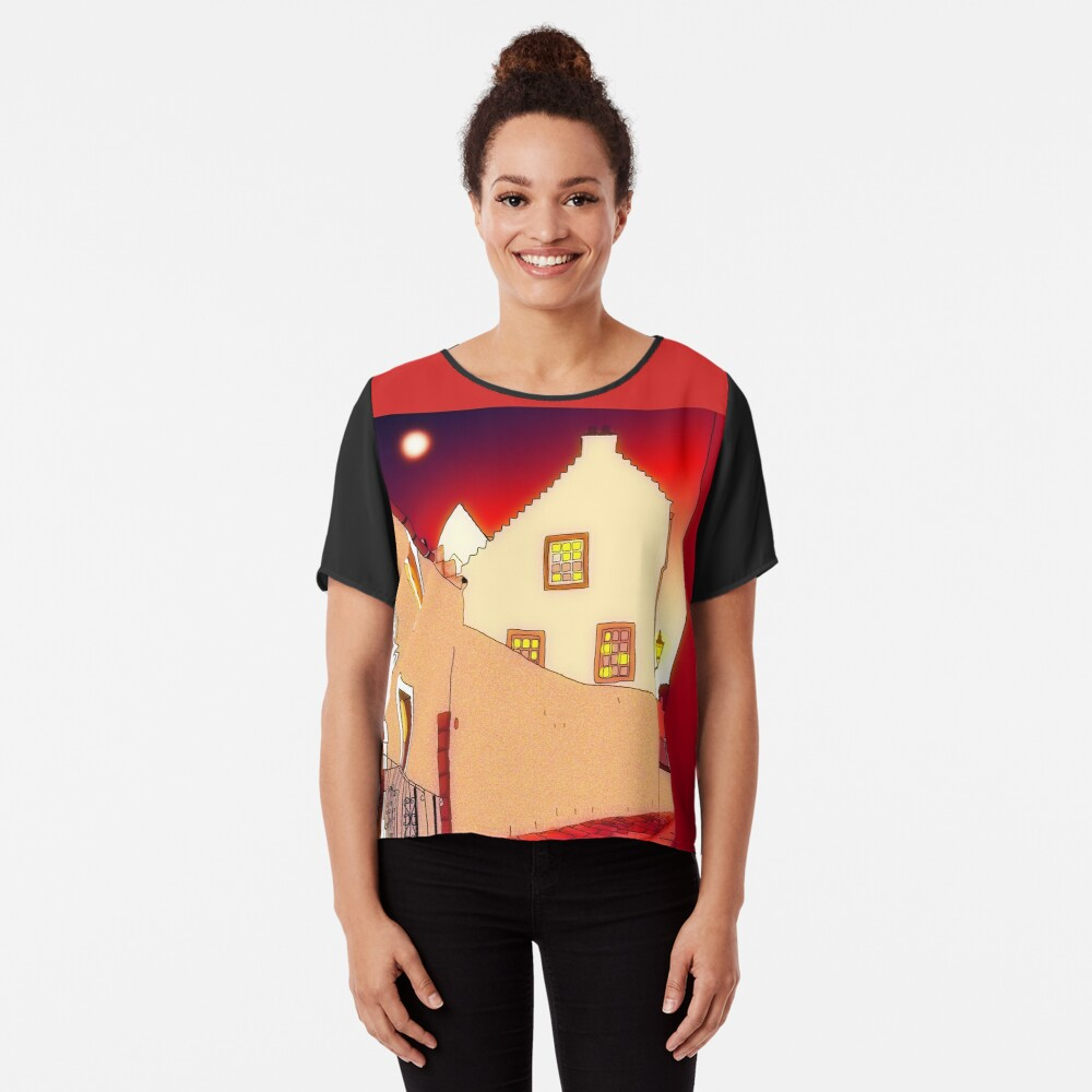 Dysart: Scottish Town digital drawing Chiffon Top