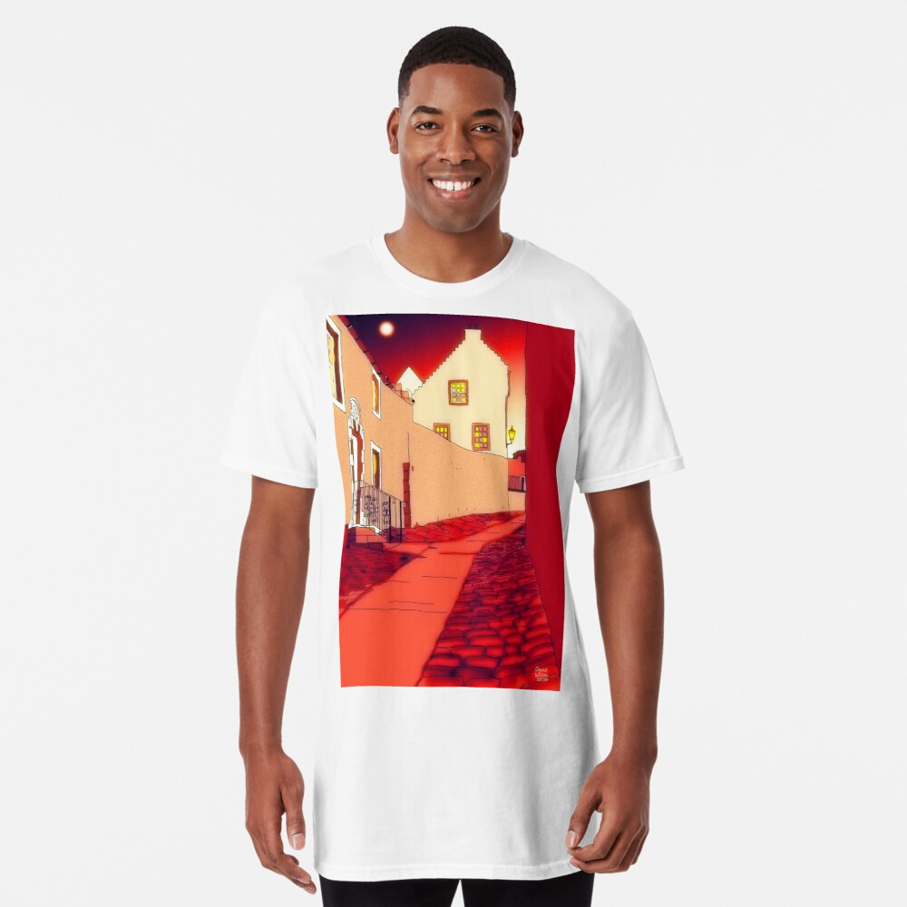 Dysart: Scottish Town digital drawing Long T-Shirt