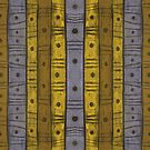 Stripes and Dots, Grey Yellow Striped Pattern by clipsocallipso