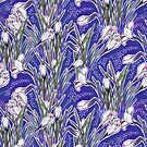 Crocuses, Blue White Botanical Floral Pattern by clipsocallipso
