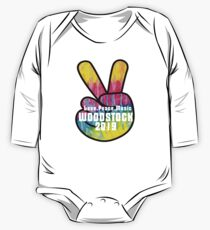 Most Anticipated Event of the Year - Woodstock 50 years 1969-2019 - Piece sign, Pride,Rainbow Long Sleeve Baby One-Piece