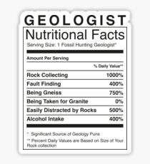 Geologist Nutritional Information | Funny Geology Humour Sticker