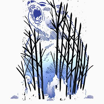 Bear In Forest Full Moon Nature Camping Campfire Apparel and Gift by Tigarlily