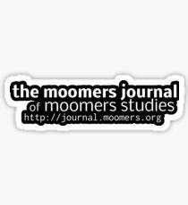 Moomers Journal Sticker -- white on black Sticker
