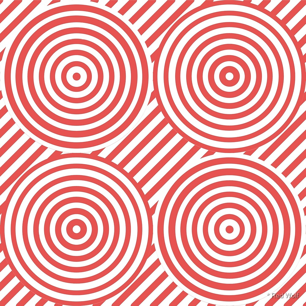 Geometric Pattern: Circle Strobe: Red/White by * Red Wolf