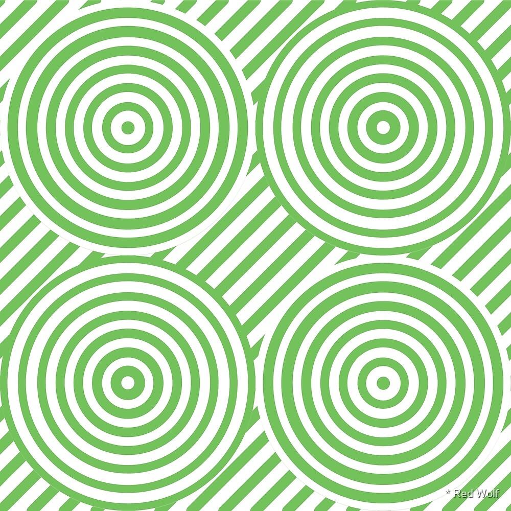 Geometric Pattern: Circle Strobe: Green/White by * Red Wolf