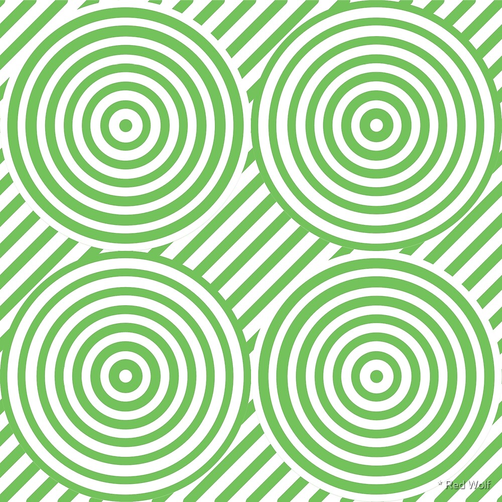 Geometric Pattern: Circle Strobe: Green/White by * Red Wolf