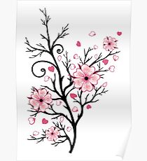 Kirschbaum Kirschblüten mit Herzen Sakura Frühling Poster