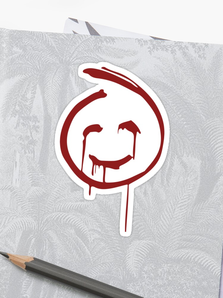 Red John Smiley Face Sticker By Ali Vining