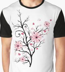 Kirschbaum Kirschblüten mit Herzen Sakura Frühling Grafik T-Shirt