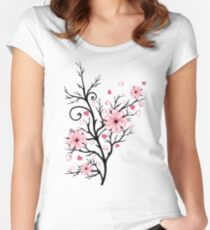 Kirschbaum Kirschblüten mit Herzen Sakura Frühling Tailliertes Rundhals-Shirt