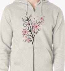 Kirschbaum Kirschblüten mit Herzen Sakura Frühling Hoodie mit Reißverschluss