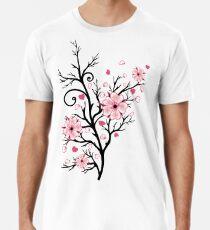 Kirschbaum Kirschblüten mit Herzen Sakura Frühling Männer Premium T-Shirts
