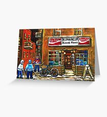 NIGHT SCENE HOCKEY ART PAINTINGS MONTREAL DEPANNEURS BEST CANADIAN ART Greeting Card