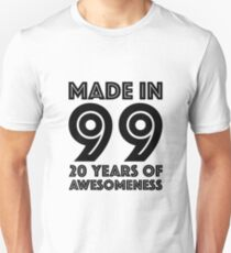 20th Birthday Gift Adult Age 20 Year Old Men Women Daughter Son Slim Fit T