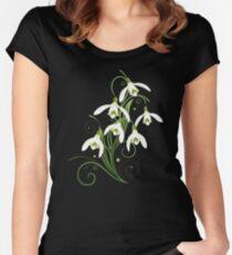 Schneeglöckchen Frühling Blumen Spring Flowers Tailliertes Rundhals-Shirt