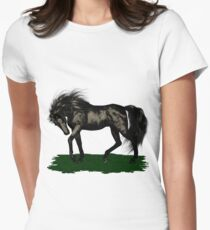 Ebony .. black stallion Women's Fitted T-Shirt