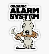 Pitbull alarm system cartoon Sticker