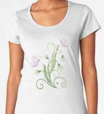Schneeglöckchen Frühling Blumen Schmetterlinge Frauen Premium T-Shirts
