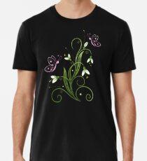 Schneeglöckchen Frühling Blumen Schmetterlinge Männer Premium T-Shirts