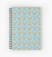 Cat damask blue Spiral Notebook