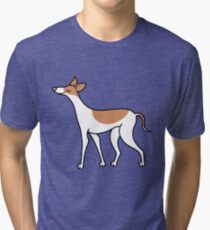 Proud Greyhound - brown and white Tri-blend T-Shirt