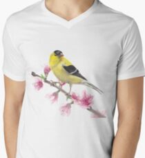 American Goldfinch on a branch of sakura, watercolor V-Neck T-Shirt