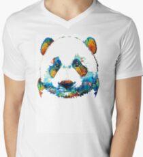 Colorful Panda Bear Art By Sharon Cummings Mens V-Neck T-Shirt