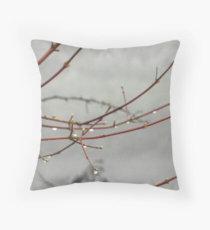 Rain drops on trees Throw Pillow